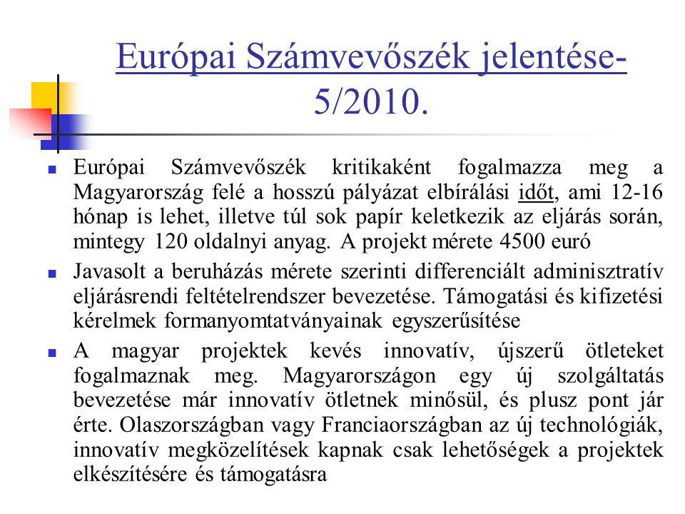 Európai Számvevőszék jelentése- 5/2010.