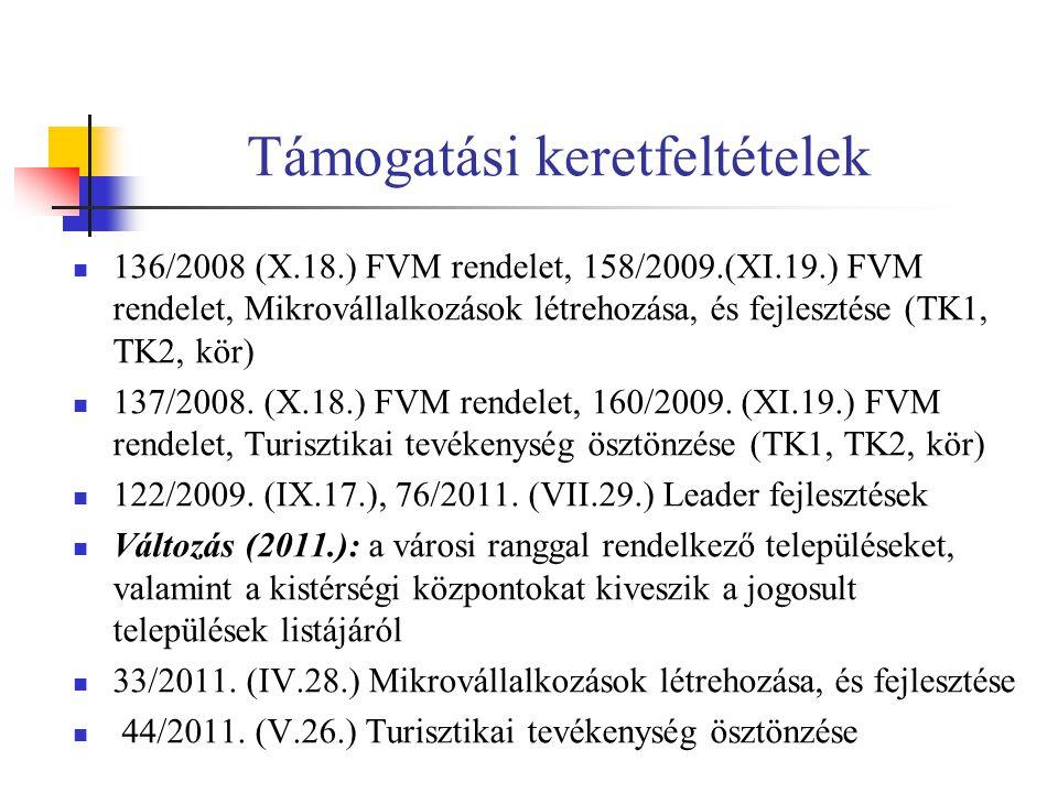 Támogatási keretfeltételek 136/2008 (X.18.) FVM rendelet, 158/2009.(XI.19.) FVM rendelet, Mikrovállalkozások létrehozása, és fejlesztése (TK1, TK2, kör) 137/2008.