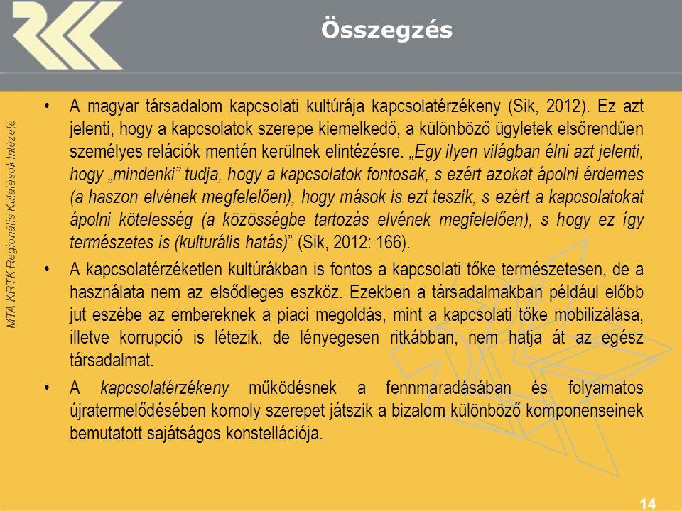 MTA KRTK Regionális Kutatások Intézete Összegzés A magyar társadalom kapcsolati kultúrája kapcsolatérzékeny (Sik, 2012).