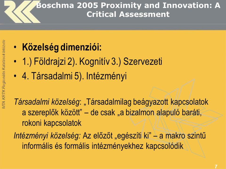 MTA KRTK Regionális Kutatások Intézete Boschma 2005 Proximity and Innovation: A Critical Assessment 7 Közelség dimenziói: 1.) Földrajzi 2).