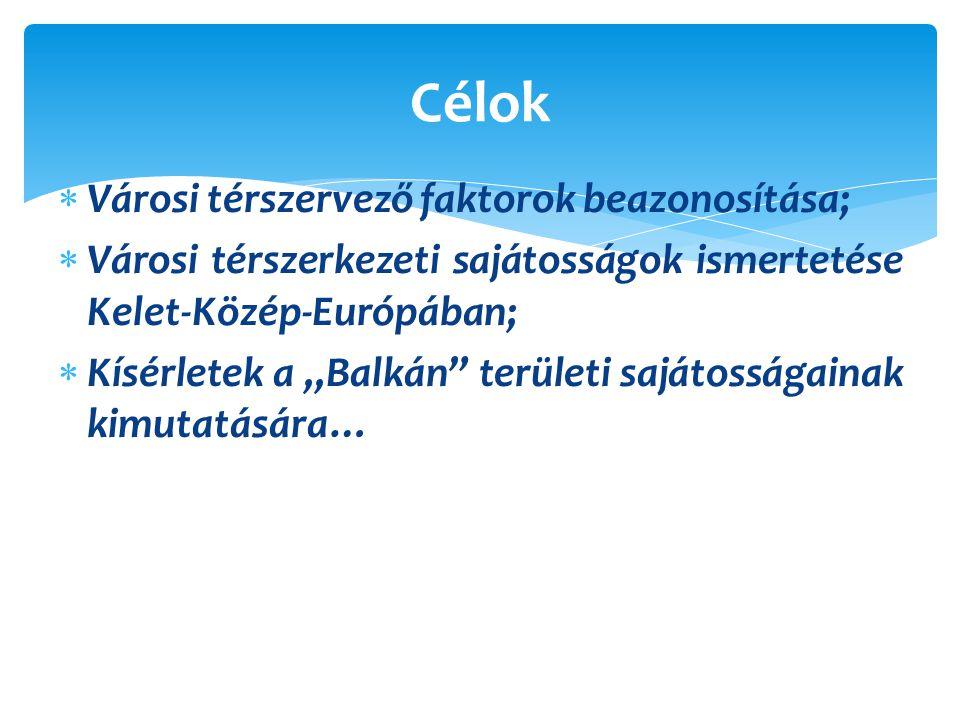 """ Városi térszervező faktorok beazonosítása;  Városi térszerkezeti sajátosságok ismertetése Kelet-Közép-Európában;  Kísérletek a """"Balkán területi sajátosságainak kimutatására… Célok"""