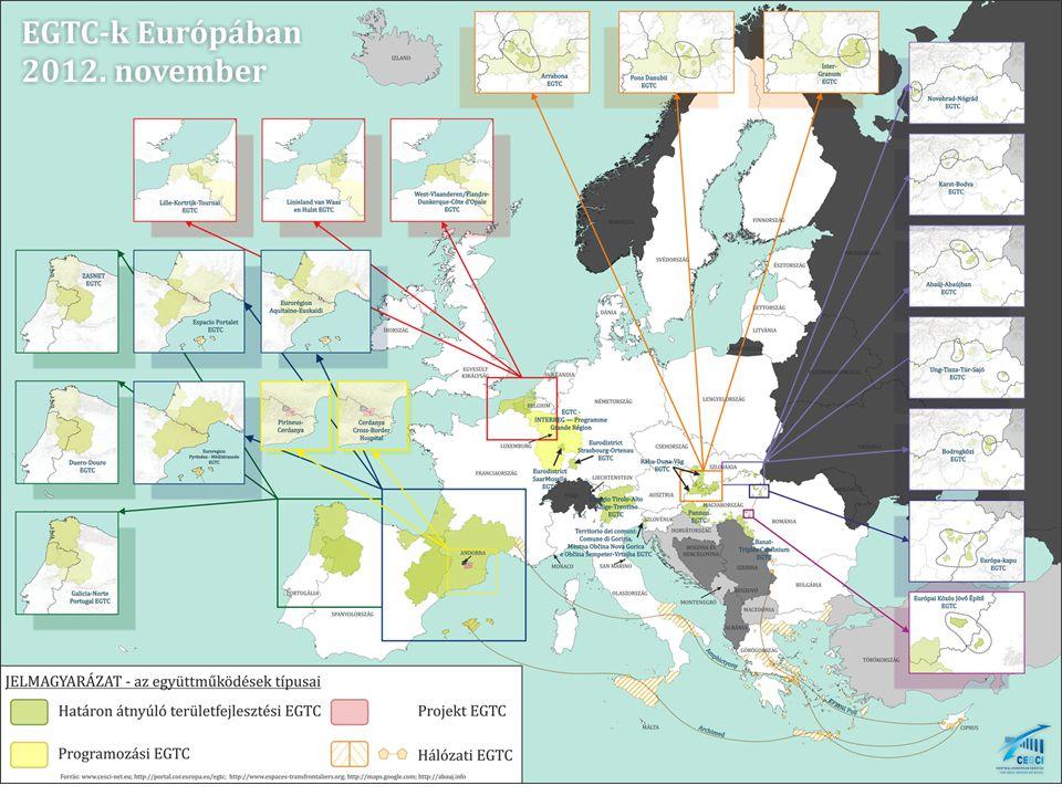 EGTC rendelet tervezet hatása a magyar EGTC/ETT-kre A már működő magyar EGTC/ETT-ket nem érinti az új Rendelet A módosítások egyszerűsítik a jóváhagyási eljárást  Minden fontosabb rendelkezésnek az Egyezményben kell lennie => hatóság ezt vizsgálja elsősorban, módosítás esetén is  Új tagok felvétele esetén csak székhely szerinti tagállam általi jóváhagyás szintén gyorsítja a csatlakozási eljárást (ha olyan tagállamból származik, ahonnan már van tag) Harmadik tagállamok csatlakozásának megkönnyítése  Szerbia és Ukrajna viszonylatában megkönnyíti a csatlakozást  Ezentúl lehet ETT-t létrehozni csak magyar-szerb vagy magyar-ukrán tagokkal  Elegendő lehet, ha Szerbia ratifikálja a Madridi Konvenciót és/vagy Kiegészítő jegyzőkönyveit (Ukrajna már megtette) ETT lehetőségei 2014-2020 között kibővülnek  Új programozási időszak kezdete – új források  ETE programokban egyszerre valósítják meg a határon átnyúló jelleget  Alkalmasak ITI menedzsmenti feladatainak ellátására