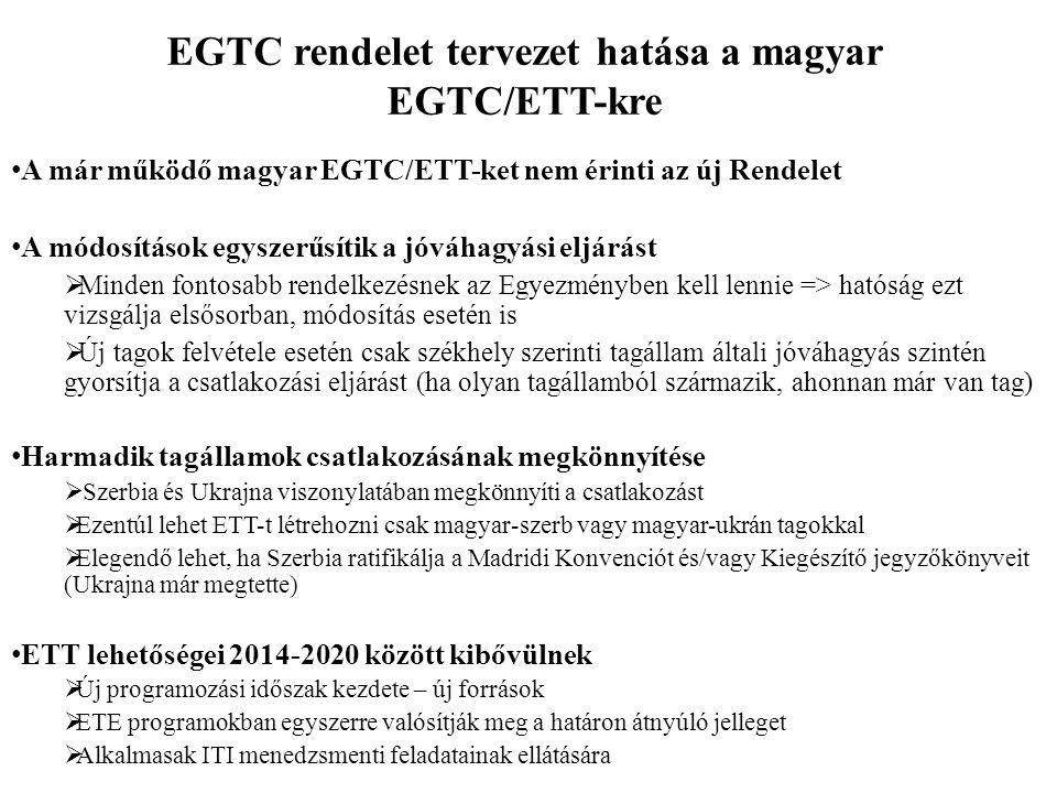 EGTC rendelet tervezet hatása a magyar EGTC/ETT-kre A már működő magyar EGTC/ETT-ket nem érinti az új Rendelet A módosítások egyszerűsítik a jóváhagyá