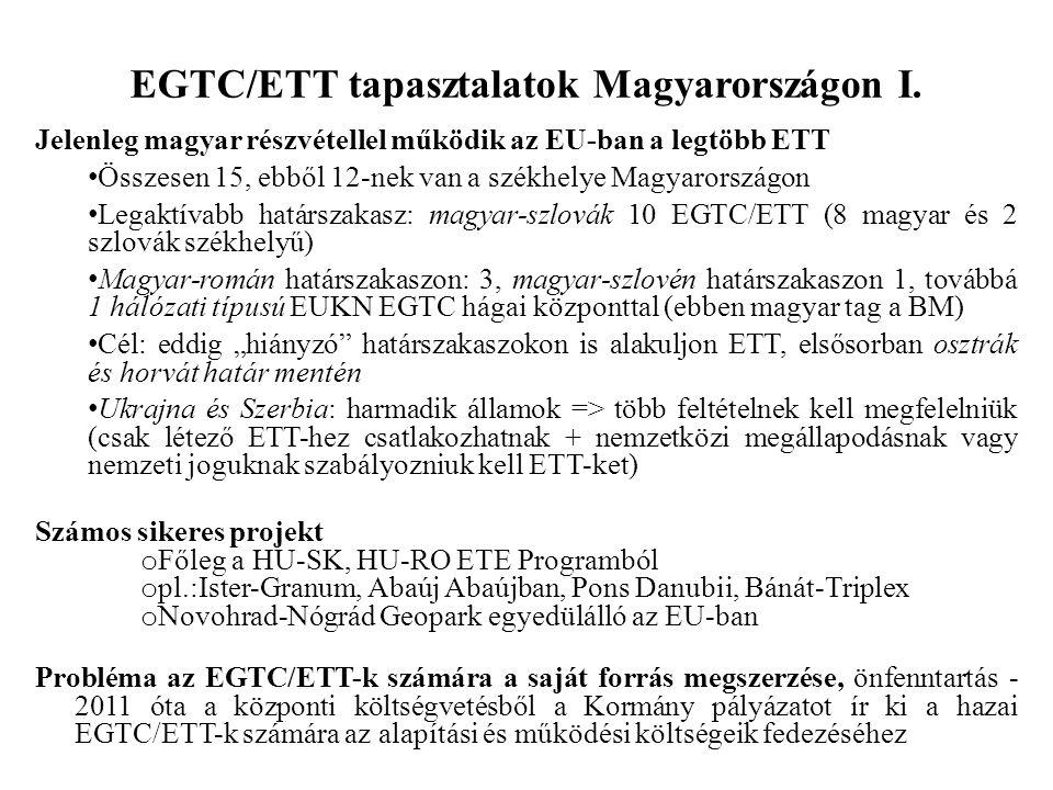 EGTC/ETT tapasztalatok Magyarországon I. Jelenleg magyar részvétellel működik az EU-ban a legtöbb ETT Összesen 15, ebből 12-nek van a székhelye Magyar