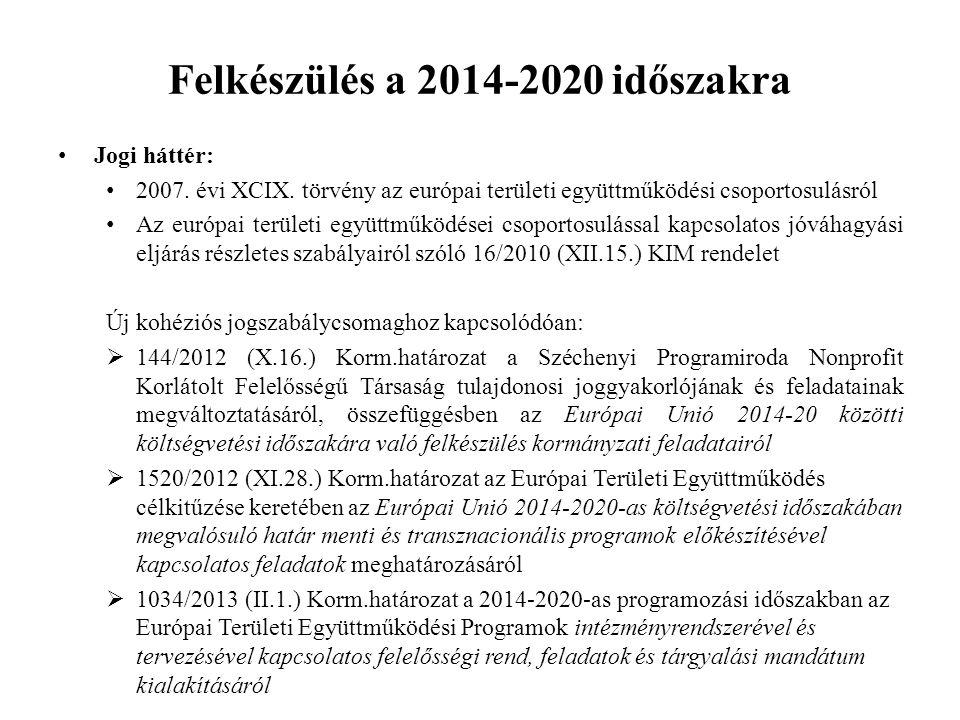 Felkészülés a 2014-2020 időszakra Jogi háttér: 2007. évi XCIX. törvény az európai területi együttműködési csoportosulásról Az európai területi együttm