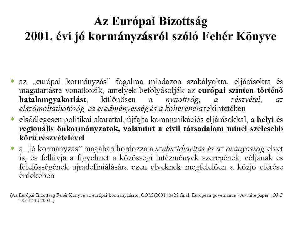 """Az Európai Bizottság 2001. évi jó kormányzásról szóló Fehér Könyve az """"európai kormányzás"""" fogalma mindazon szabályokra, eljárásokra és magatartásra v"""