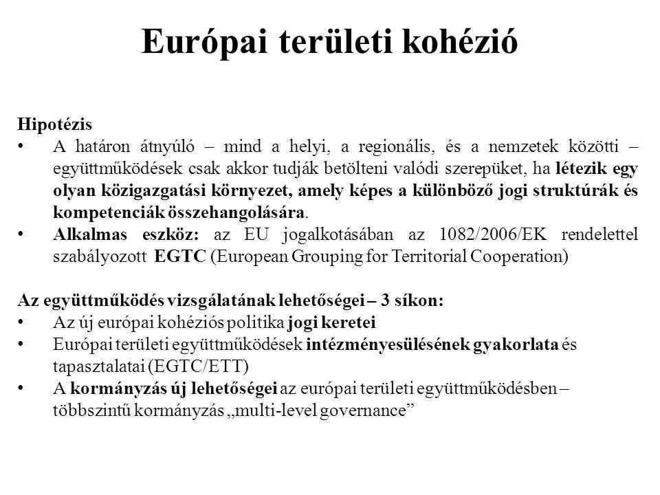 Európai területi kohézió Hipotézis A határon átnyúló – mind a helyi, a regionális, és a nemzetek közötti – együttműködések csak akkor tudják betölteni