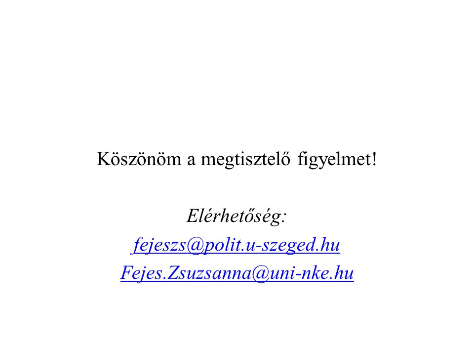Köszönöm a megtisztelő figyelmet! Elérhetőség: fejeszs@polit.u-szeged.hu Fejes.Zsuzsanna@uni-nke.hu