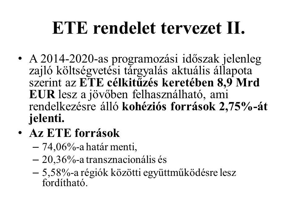 ETE rendelet tervezet II. A 2014-2020-as programozási időszak jelenleg zajló költségvetési tárgyalás aktuális állapota szerint az ETE célkitűzés keret