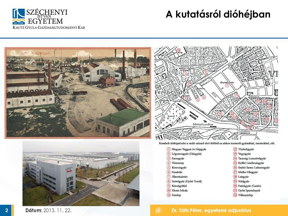 Dátum:3 A kutatásról dióhéjban Dr.Tamándl László egyetemi adjunktus, projektmenedzser Dátum: 2013.