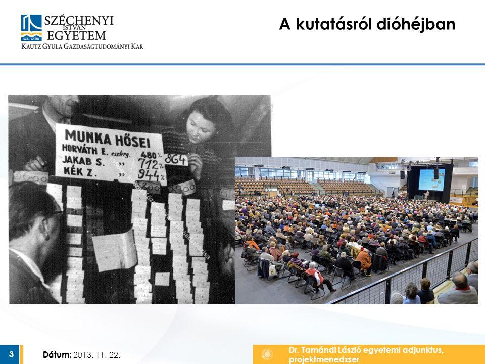 Dátum:3 A kutatásról dióhéjban Dr. Tamándl László egyetemi adjunktus, projektmenedzser Dátum: 2013. 11. 22.