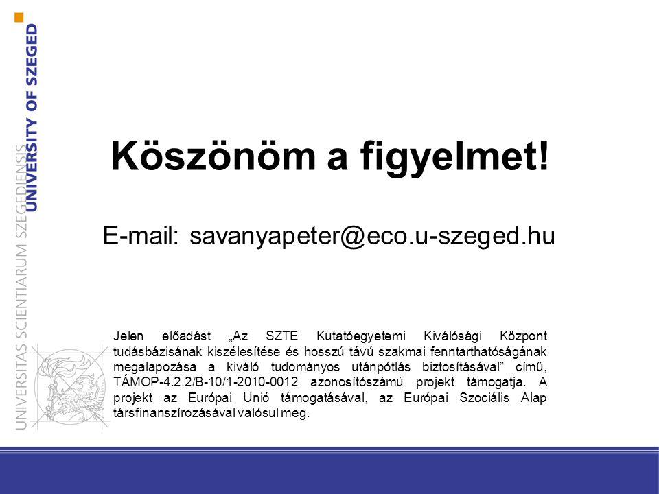 """Köszönöm a figyelmet! E-mail: savanyapeter@eco.u-szeged.hu Jelen előadást """"Az SZTE Kutatóegyetemi Kiválósági Központ tudásbázisának kiszélesítése és h"""