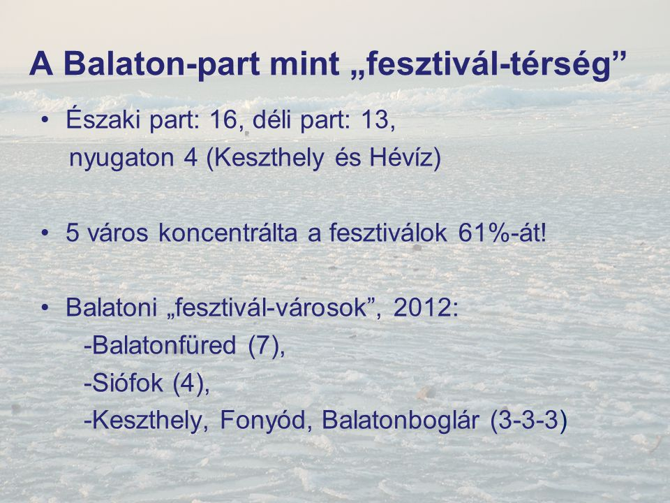 """A Balaton-part mint """"fesztivál-térség"""" Északi part: 16, déli part: 13, nyugaton 4 (Keszthely és Hévíz) 5 város koncentrálta a fesztiválok 61%-át! Bala"""