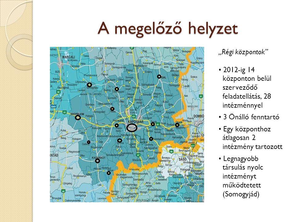 """A megelőző helyzet """"Régi központok"""" 2012-ig 14 központon belül szerveződő feladatellátás, 28 intézménnyel a 3 Önálló fenntartó a Egy központhoz átlago"""