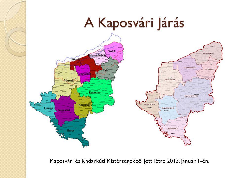 A Kaposvári Járás Kaposvári és Kadarkúti Kistérségekből jött létre 2013. január 1-én.