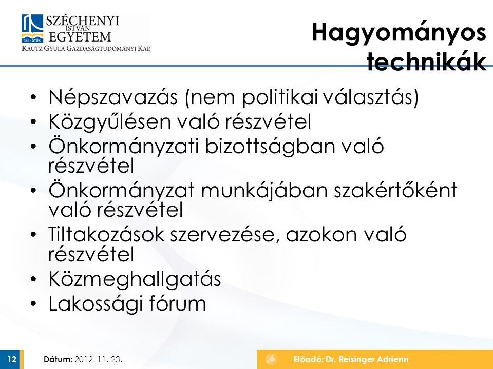 Népszavazás (nem politikai választás) Közgyűlésen való részvétel Önkormányzati bizottságban való részvétel Önkormányzat munkájában szakértőként való r