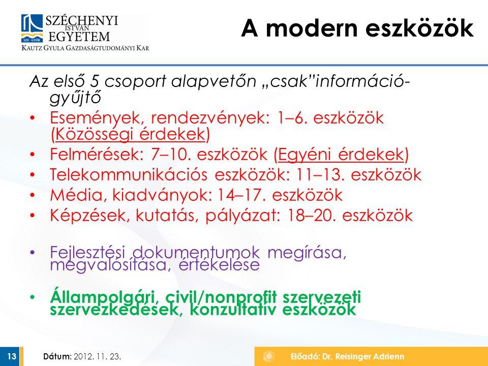 """Az első 5 csoport alapvetőn """"csak""""információ- gyűjtő Események, rendezvények: 1–6. eszközök (Közösségi érdekek) Felmérések: 7–10. eszközök (Egyéni érd"""