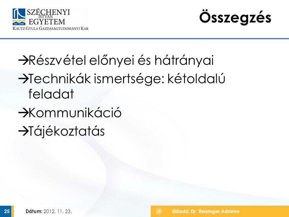  Részvétel előnyei és hátrányai  Technikák ismertsége: kétoldalú feladat  Kommunikáció  Tájékoztatás Dátum: 2012. 11. 23. 25 Összegzés Előadó: Dr.