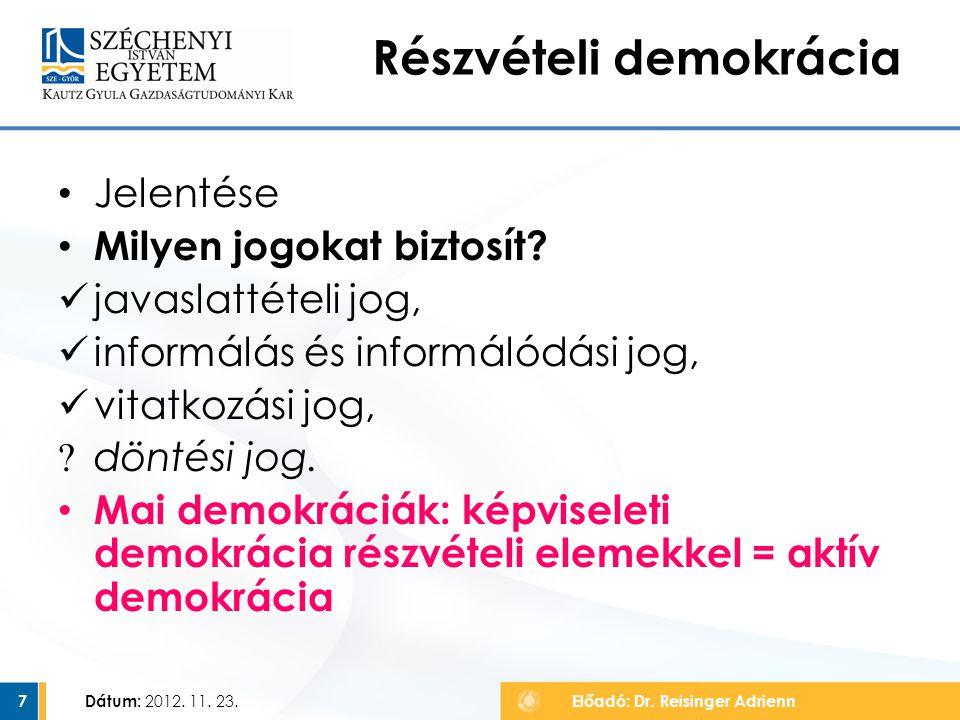 Jelentése Milyen jogokat biztosít? javaslattételi jog, informálás és informálódási jog, vitatkozási jog, ? döntési jog. Mai demokráciák: képviseleti d