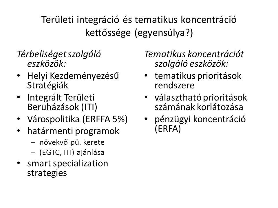 Területi integráció és tematikus koncentráció kettőssége (egyensúlya ) Térbeliséget szolgáló eszközök: Helyi Kezdeményezésű Stratégiák Integrált Területi Beruházások (ITI) Várospolitika (ERFFA 5%) határmenti programok – növekvő pü.