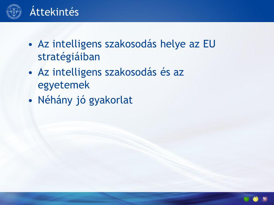 Áttekintés Az intelligens szakosodás helye az EU stratégiáiban Az intelligens szakosodás és az egyetemek Néhány jó gyakorlat