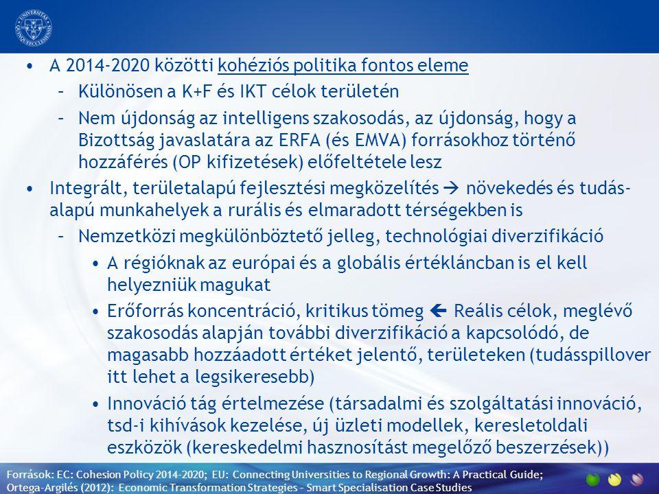 A 2014-2020 közötti kohéziós politika fontos eleme –Különösen a K+F és IKT célok területén –Nem újdonság az intelligens szakosodás, az újdonság, hogy