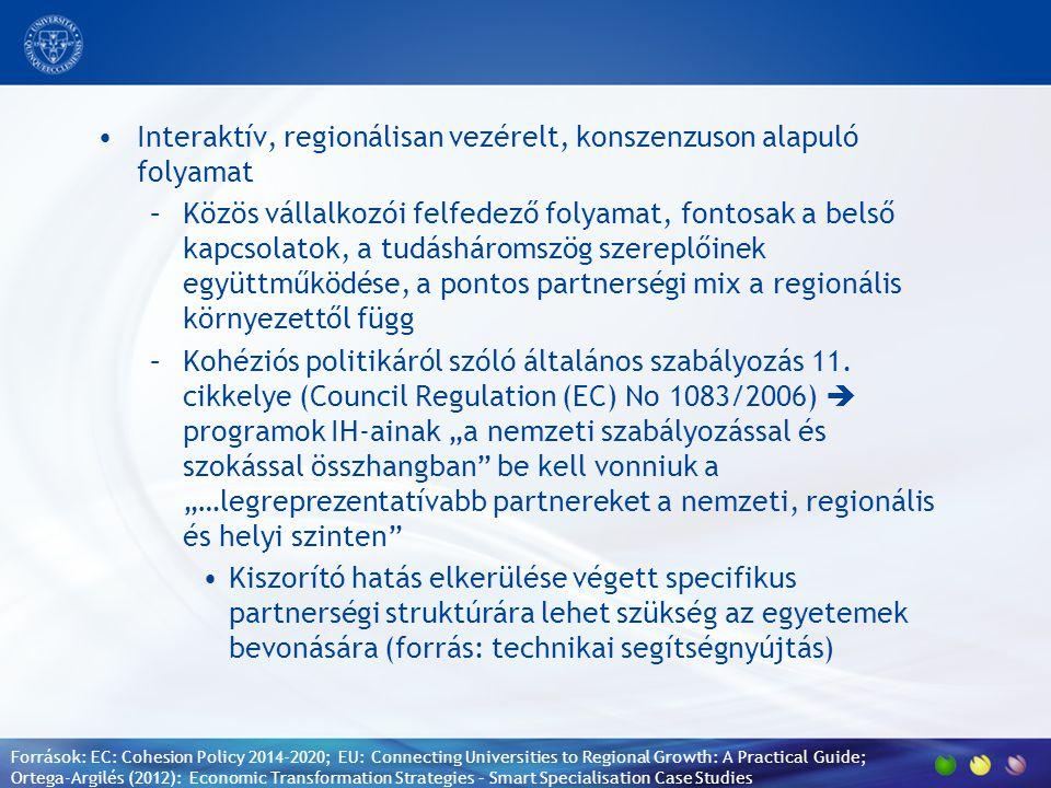 Interaktív, regionálisan vezérelt, konszenzuson alapuló folyamat –Közös vállalkozói felfedező folyamat, fontosak a belső kapcsolatok, a tudásháromszög szereplőinek együttműködése, a pontos partnerségi mix a regionális környezettől függ –Kohéziós politikáról szóló általános szabályozás 11.