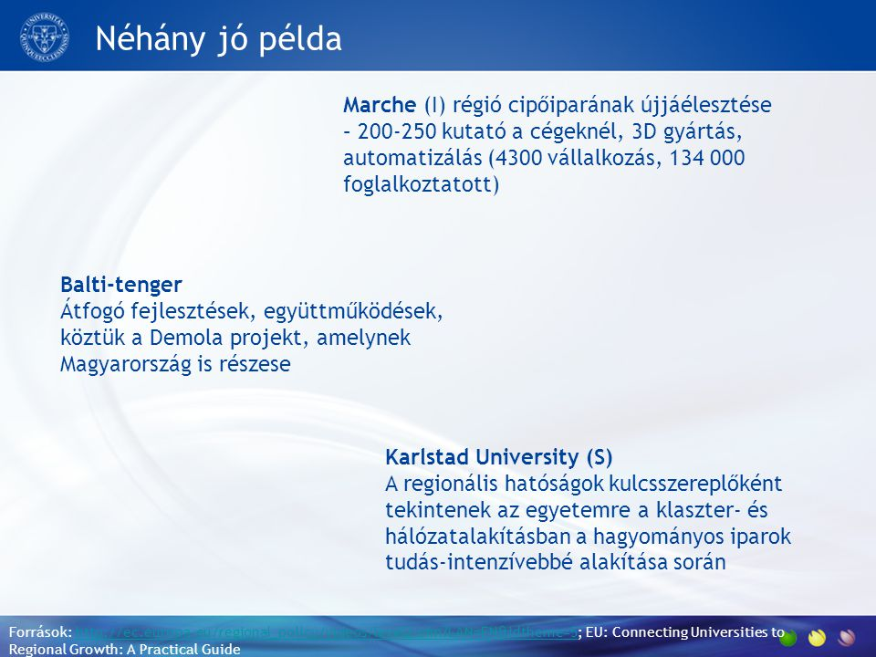 Néhány jó példa Források: http://ec.europa.eu/regional_policy/videos/level2.cfm?LAN=EN&idtheme=5; EU: Connecting Universities to Regional Growth: A Pr