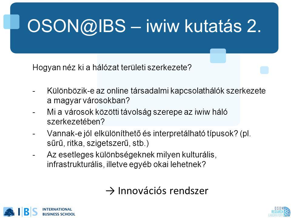OSON@IBS – iwiw kutatás 2. Hogyan néz ki a hálózat területi szerkezete? -Különbözik-e az online társadalmi kapcsolathálók szerkezete a magyar városokb