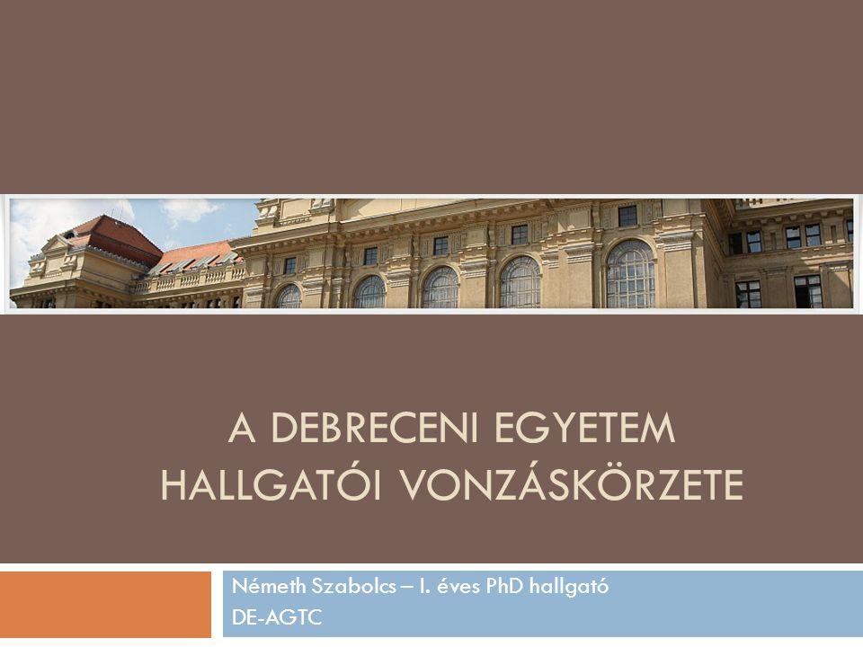 A DEBRECENI EGYETEM HALLGATÓI VONZÁSKÖRZETE Németh Szabolcs – I. éves PhD hallgató DE-AGTC