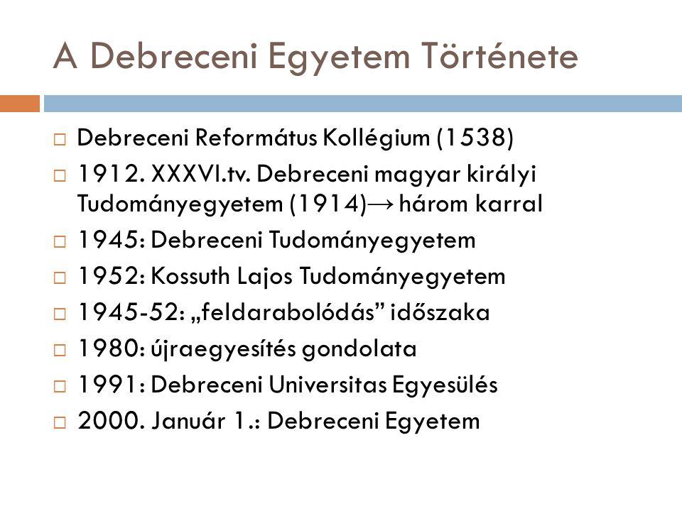 A Debreceni Egyetem Története  Debreceni Református Kollégium (1538)  1912.