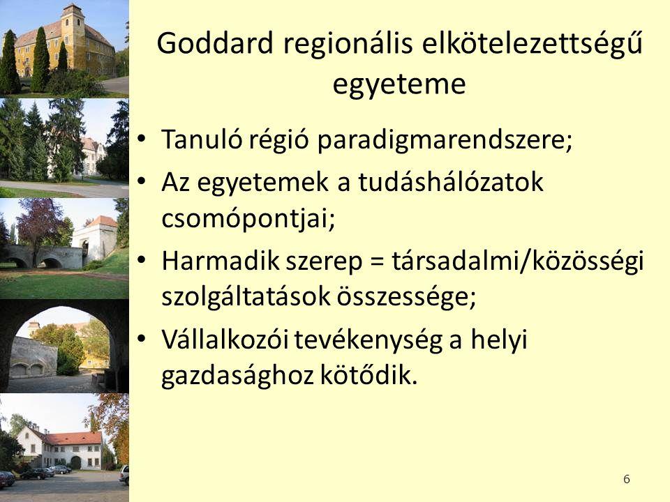 Goddard regionális elkötelezettségű egyeteme Tanuló régió paradigmarendszere; Az egyetemek a tudáshálózatok csomópontjai; Harmadik szerep = társadalmi/közösségi szolgáltatások összessége; Vállalkozói tevékenység a helyi gazdasághoz kötődik.