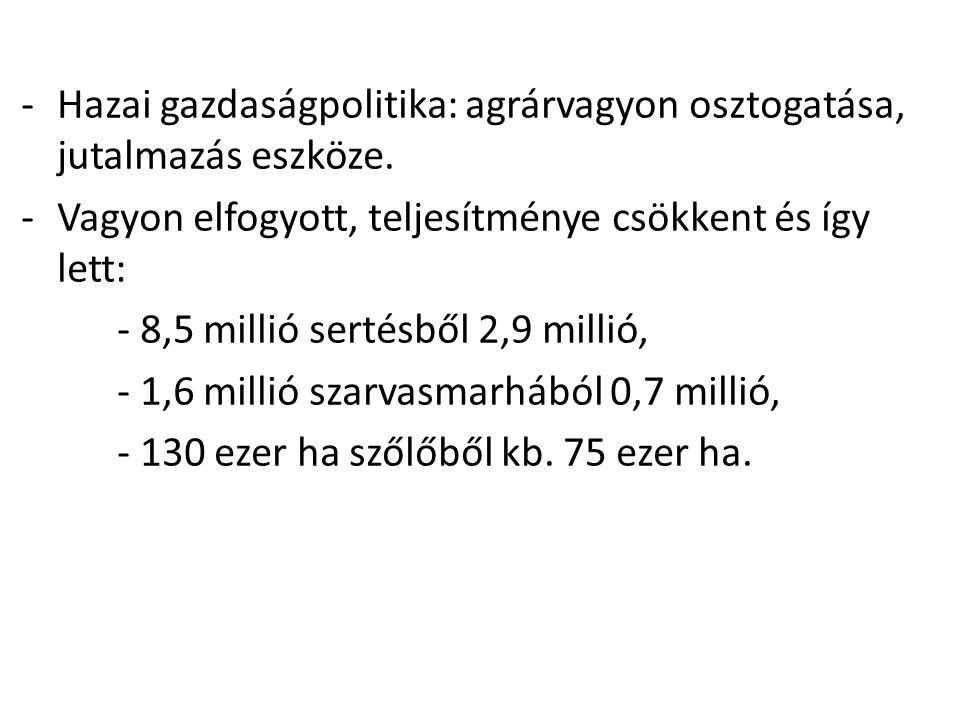 -Hazai gazdaságpolitika: agrárvagyon osztogatása, jutalmazás eszköze. -Vagyon elfogyott, teljesítménye csökkent és így lett: - 8,5 millió sertésből 2,