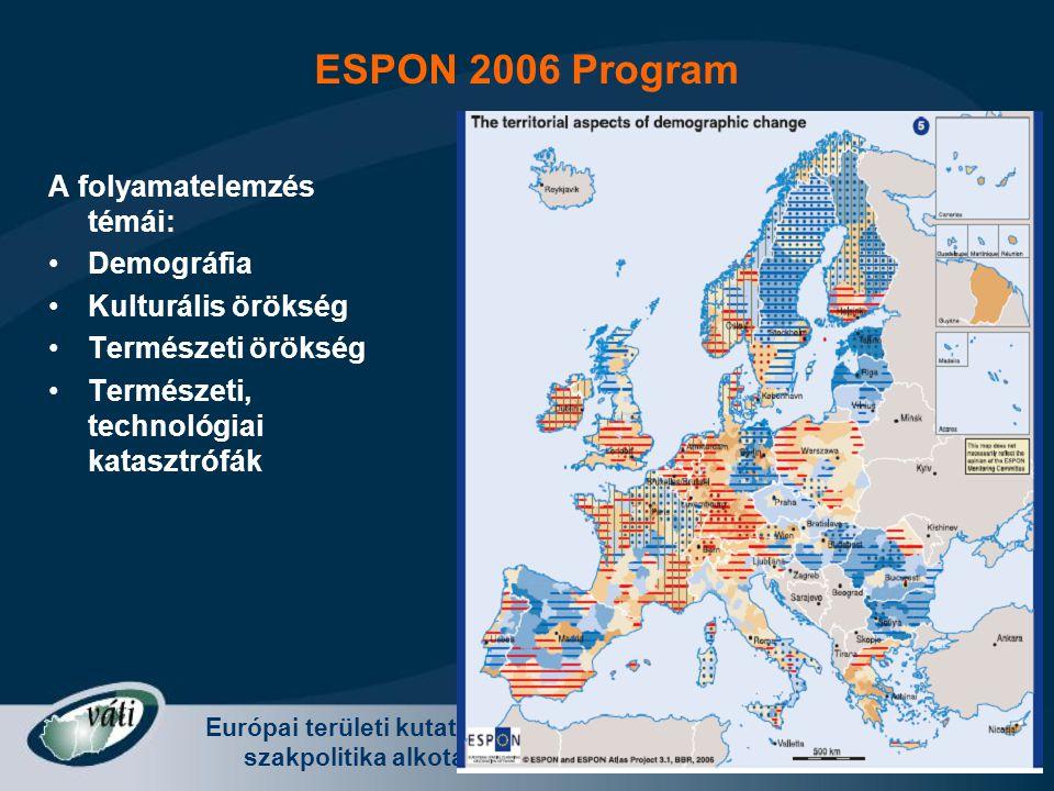 Európai területi kutatás és szakpolitika alkotás Radvánszki Ádám - Európa változó terei 2008. november 8. A folyamatelemzés témái: Demográfia Kulturál