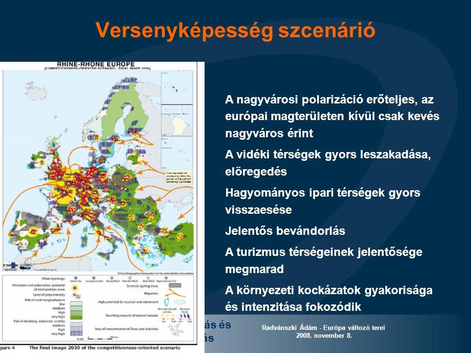 Európai területi kutatás és szakpolitika alkotás Radvánszki Ádám - Európa változó terei 2008. november 8. Versenyképesség szcenárió A nagyvárosi polar