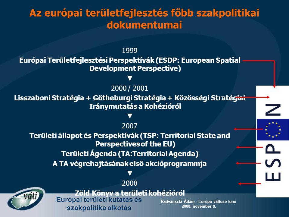 Európai területi kutatás és szakpolitika alkotás Radvánszki Ádám - Európa változó terei 2008. november 8. Az európai területfejlesztés főbb szakpoliti