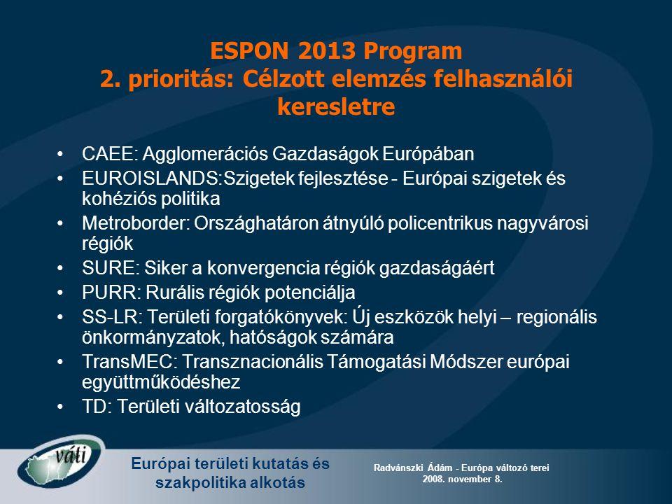 Európai területi kutatás és szakpolitika alkotás Radvánszki Ádám - Európa változó terei 2008. november 8. ESPON 2013 Program 2. prioritás: Célzott ele