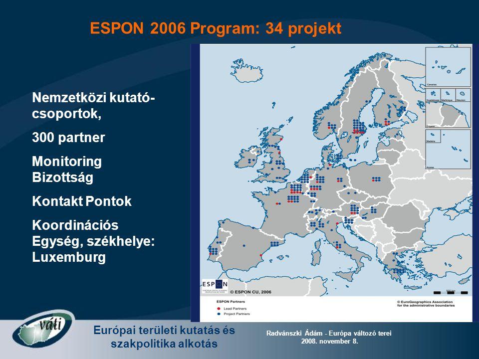 Európai területi kutatás és szakpolitika alkotás Radvánszki Ádám - Európa változó terei 2008. november 8. Nemzetközi kutató- csoportok, 300 partner Mo