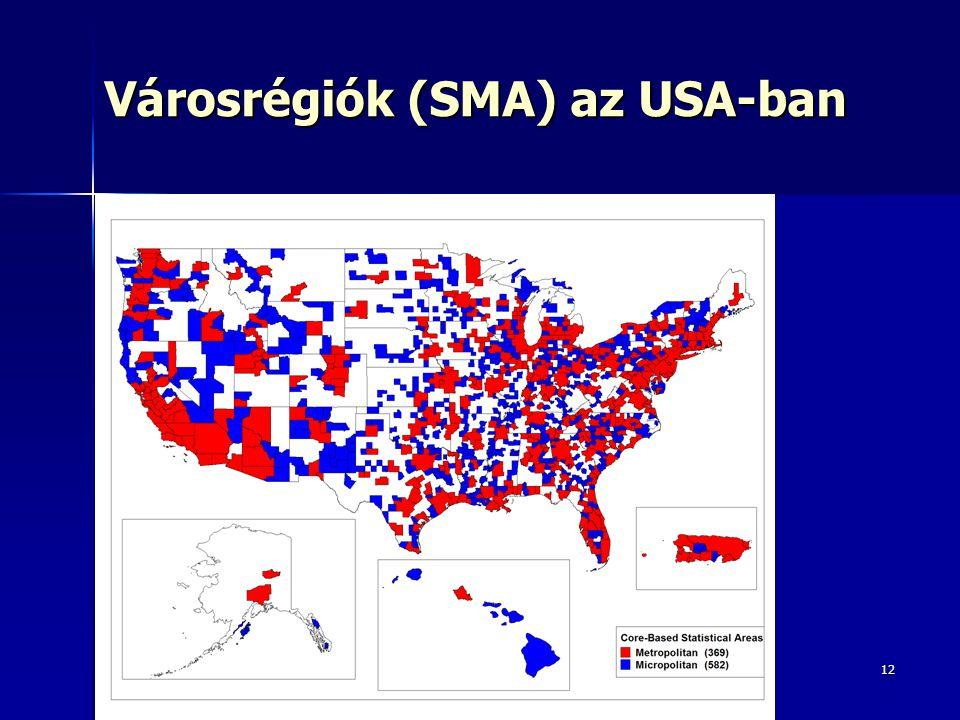12 Városrégiók (SMA) az USA-ban