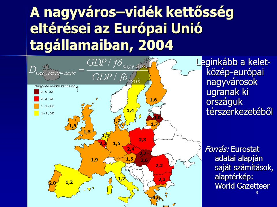 9 EU átlaga: 1,6X EU átlaga: 1,6X Maximum: 3X (Lettország) Maximum: 3X (Lettország) Minimum: 1,2X (Olaszország) Minimum: 1,2X (Olaszország) A nagyváros–vidék kettősség eltérései az Európai Unió tagállamaiban, 2004 Forrás: Eurostat adatai alapján saját számítások, alaptérkép: World Gazetteer Leginkább a kelet- közép-európai nagyvárosok ugranak ki országuk térszerkezetéből