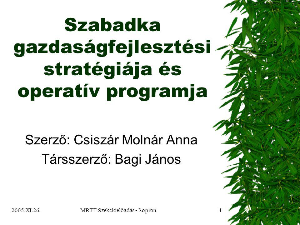 2005.XI.26.MRTT Szekcióelőadás - Sopron1 Szabadka gazdaságfejlesztési stratégiája és operatív programja Szerző: Csiszár Molnár Anna Társszerző: Bagi János