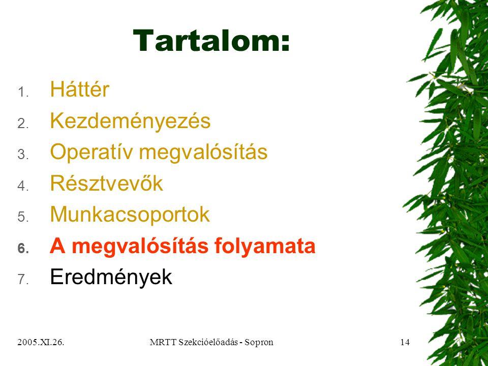 2005.XI.26.MRTT Szekcióelőadás - Sopron14 Tartalom: 1.
