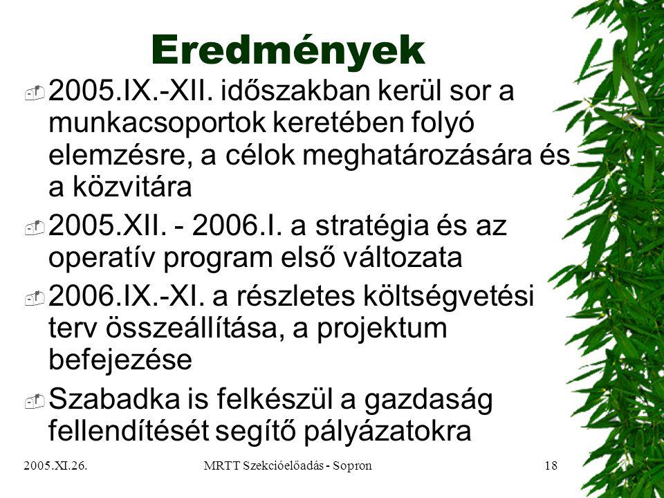 2005.XI.26.MRTT Szekcióelőadás - Sopron18 Eredmények  2005.IX.-XII.