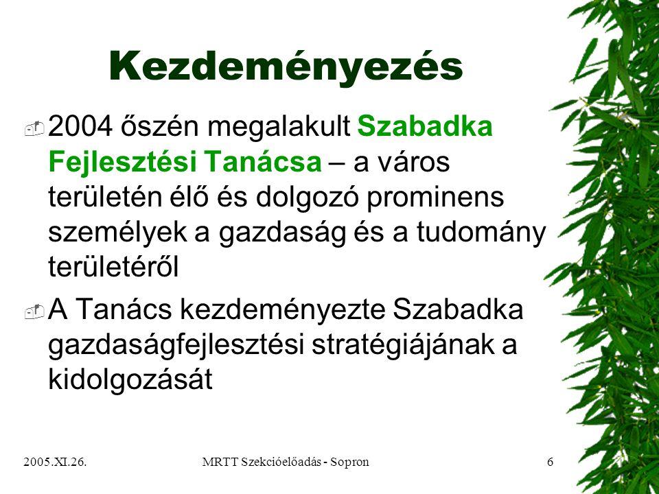 2005.XI.26.MRTT Szekcióelőadás - Sopron6 Kezdeményezés  2004 őszén megalakult Szabadka Fejlesztési Tanácsa – a város területén élő és dolgozó prominens személyek a gazdaság és a tudomány területéről  A Tanács kezdeményezte Szabadka gazdaságfejlesztési stratégiájának a kidolgozását