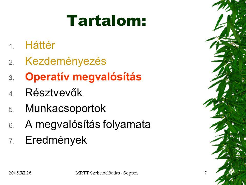 2005.XI.26.MRTT Szekcióelőadás - Sopron8 Operatív megvalósítás  Másfél évig tartó projektum  Első fél év a projektum előkészítése  A Tanács jóváhagyta a megvalósítás részletes javaslatát és módszerét  2005.