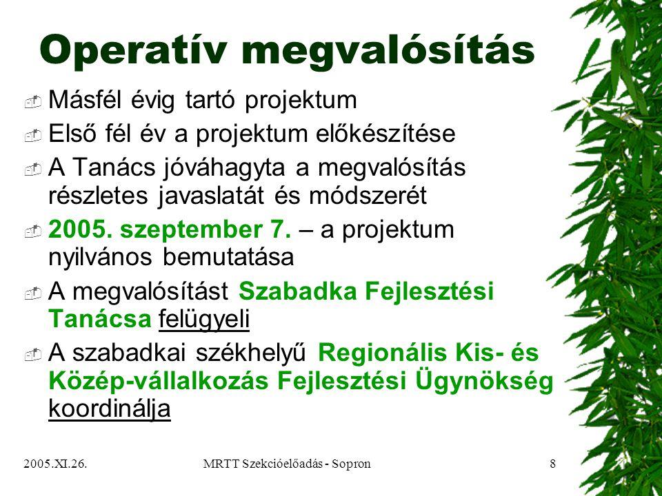 2005.XI.26.MRTT Szekcióelőadás - Sopron19 Köszönöm a figyelmet!