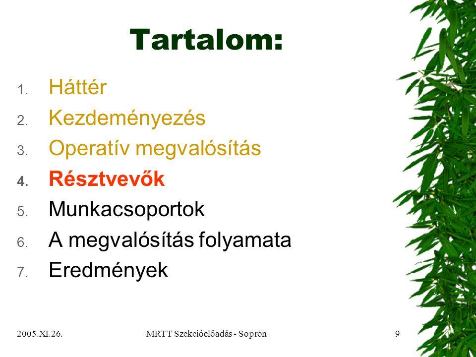 2005.XI.26.MRTT Szekcióelőadás - Sopron10 Résztvevők  Érdekcsoportok:  Szabadka önkormányzata  Közintézmények  Vállalkozók  Nem-kormányzati szervezetek  Oktatási intézmények  Szabadka Fejlesztési Tanácsa  Helyi akciócsoport  Külföldi szakemberek  Munkacsoportok