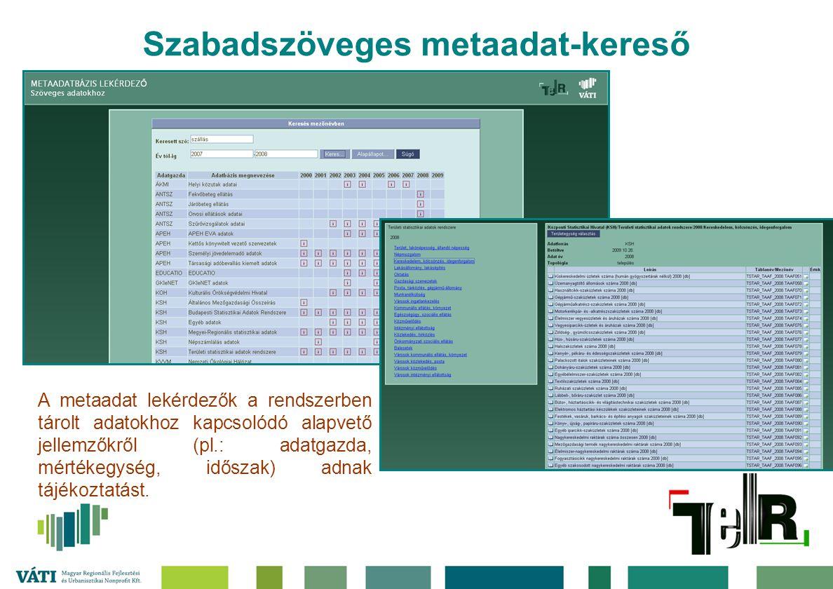 Szabadszöveges metaadat-kereső A metaadat lekérdezők a rendszerben tárolt adatokhoz kapcsolódó alapvető jellemzőkről (pl.: adatgazda, mértékegység, id