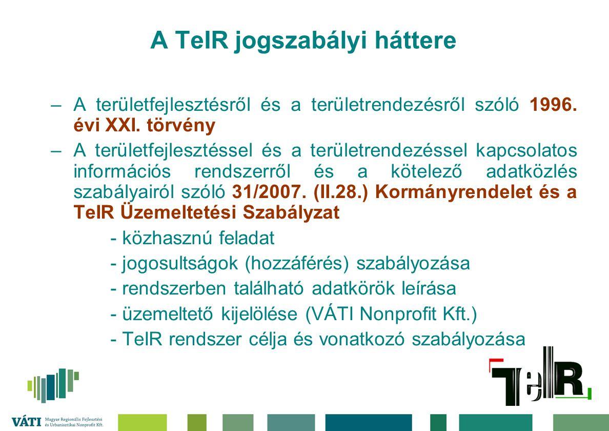 A TeIR jogszabályi háttere –A területfejlesztésről és a területrendezésről szóló 1996. évi XXI. törvény –A területfejlesztéssel és a területrendezésse