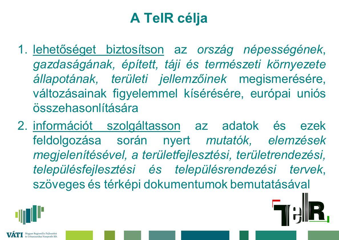 A TeIR célja 1.lehetőséget biztosítson az ország népességének, gazdaságának, épített, táji és természeti környezete állapotának, területi jellemzőinek